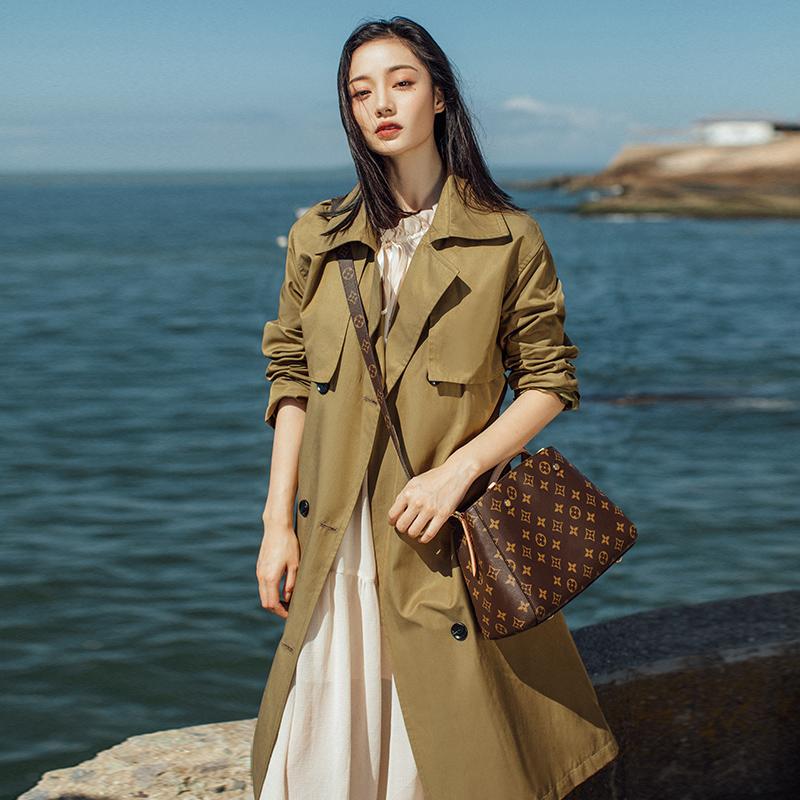 初秋新款韩版小个子风衣女中长款气质外套卡其色百搭过膝工装 2019