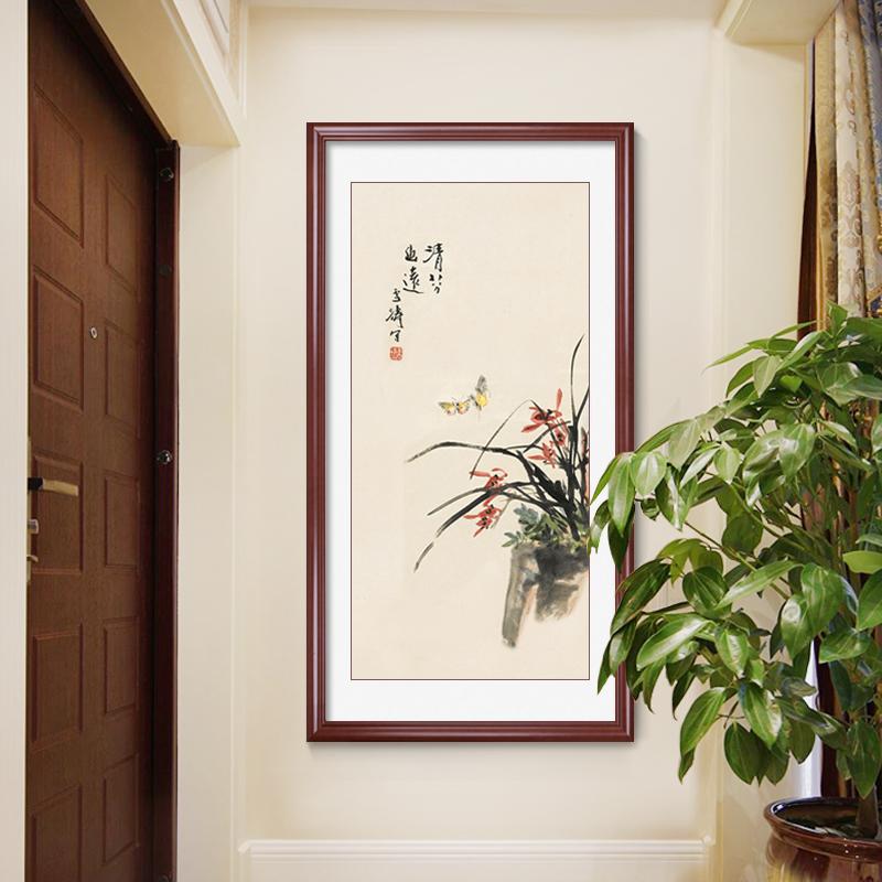蘭花圖掛畫新中式玄關裝飾畫書房客廳背景墻現代簡約禪意壁畫古畫