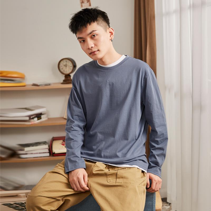 唐狮长袖t恤男装2021春季纯色打底衫上衣宽松白色纯棉ins潮牌衣服