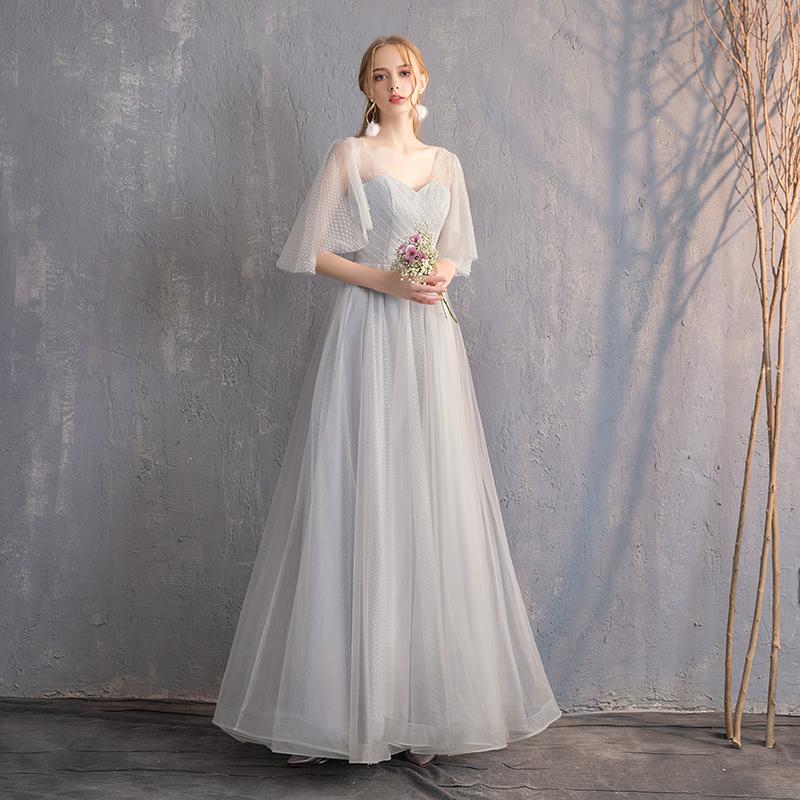 伴娘服长款2019新款春夏灰色伴娘礼服姐妹裙显瘦宴会年会晚礼服女