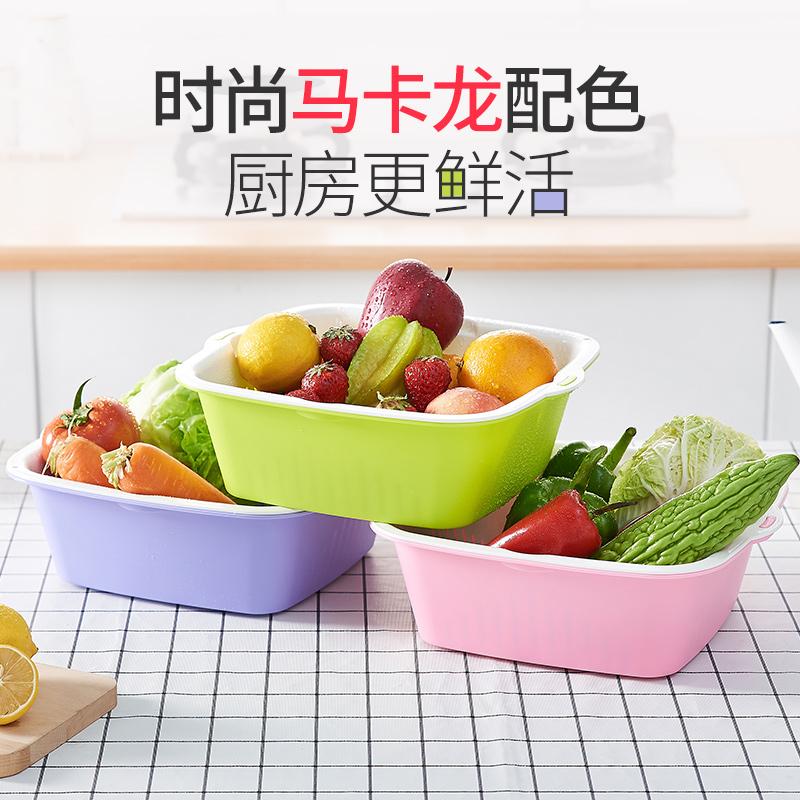 多功能双层沥水篮洗菜蓝子塑料盆客厅汲厨房神器水果盘大号筐家用高清大图