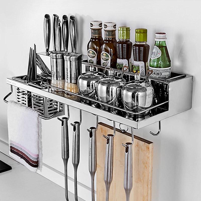 卡贝厨房置物架2层壁挂墙上调料架厨房五金挂件304不锈钢加厚刀架
