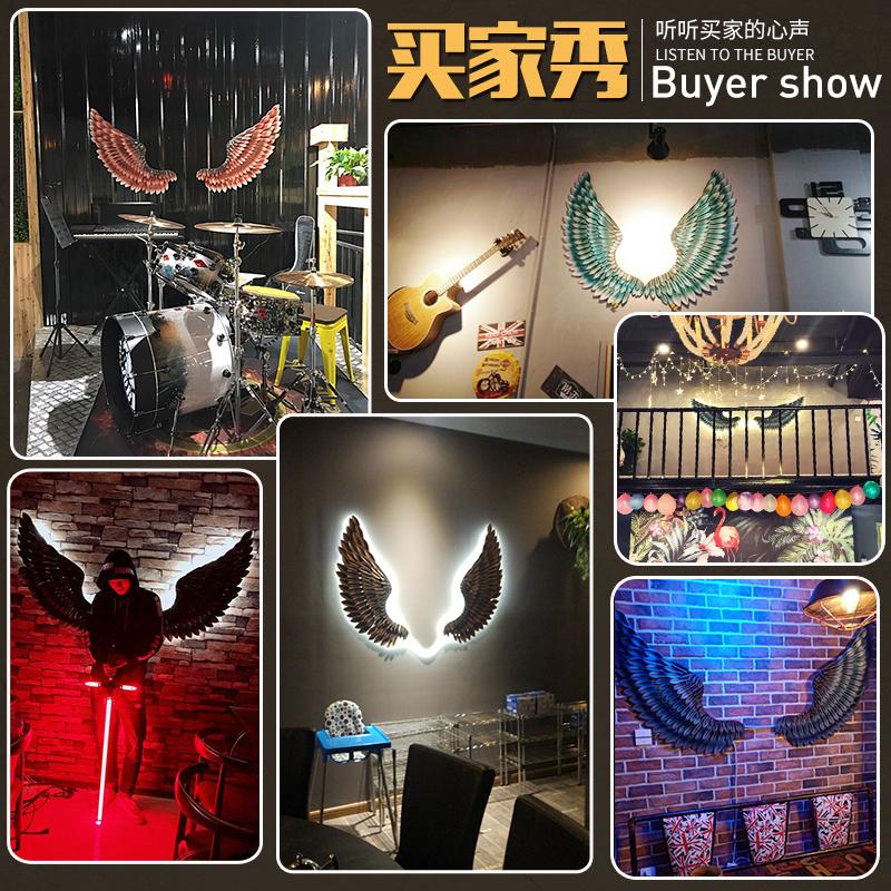 工业风奶茶店背景墙上墙面墙壁装饰翅膀复古挂件铁艺墙饰酒吧创意