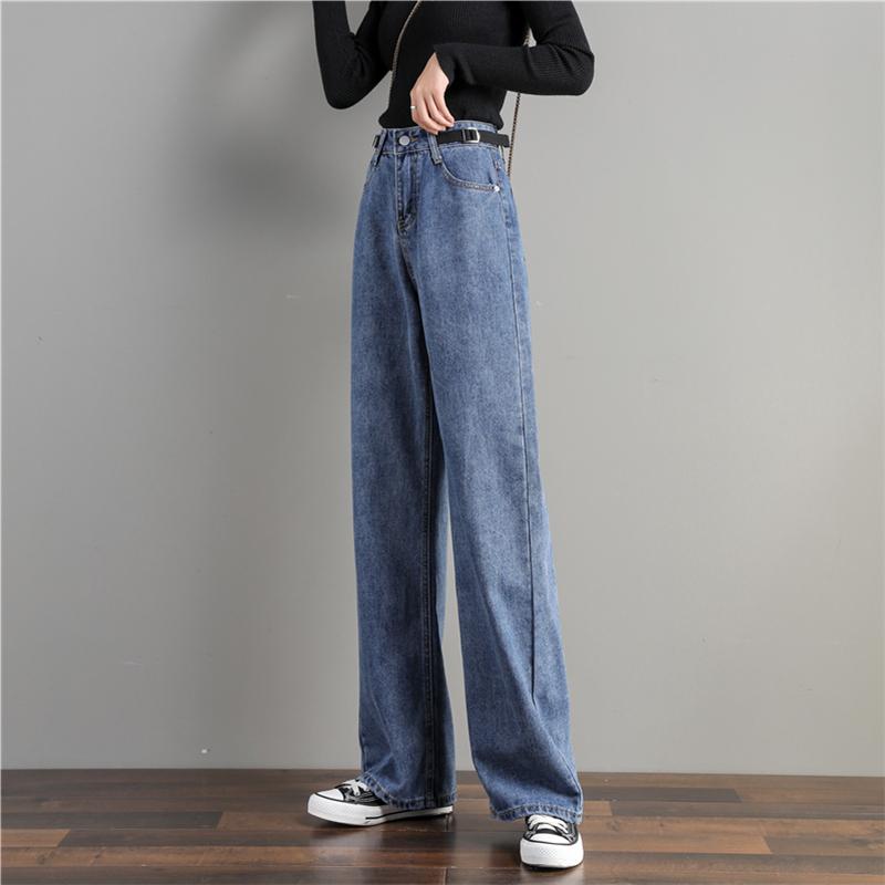 高腰垂感宽松直筒新款拖地阔腿牛仔裤女2020年九分春秋装显瘦秋季