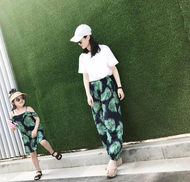 亲子装套装绿野仙踪 夏装新款芭蕉叶连衣裙灯笼裤防蚊裤度假装  2018
