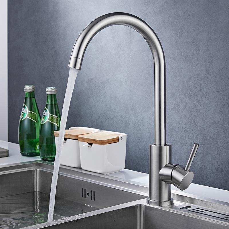 不銹鋼單冷可旋轉抽拉式洗碗池水槽洗菜盆 304 廚房冷熱水龍頭家用