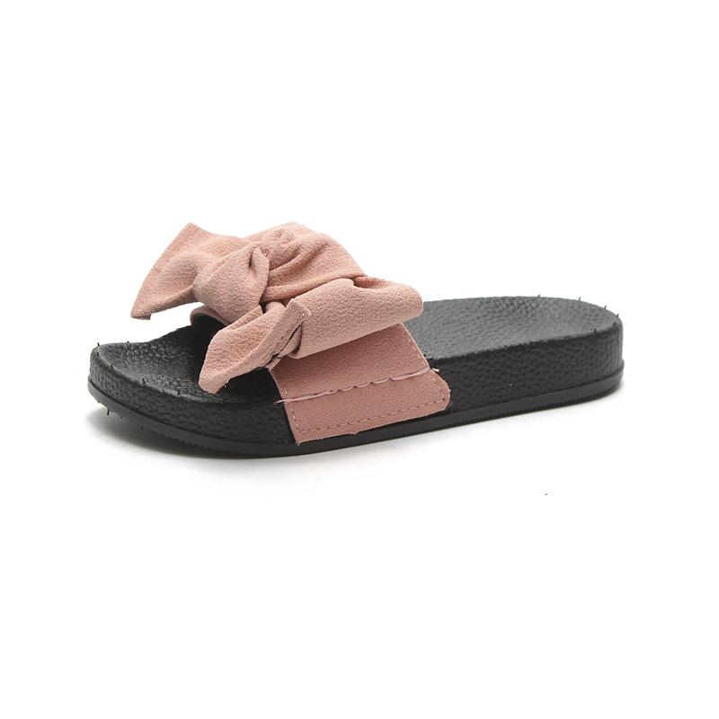 夏季新款蝴蝶结拖鞋女外穿时尚百搭网红学生平底一字拖沙滩鞋 2019