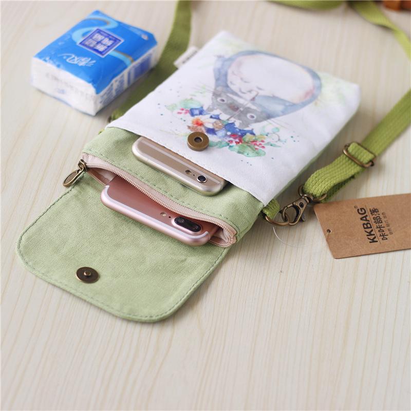 2019新款手机袋子女布零钱包背斜挎挂脖装可爱迷你小包包竖