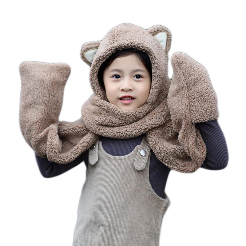 原创设计新品韩国儿童秋冬可爱加厚保暖女帽子围巾手套一体亲子款