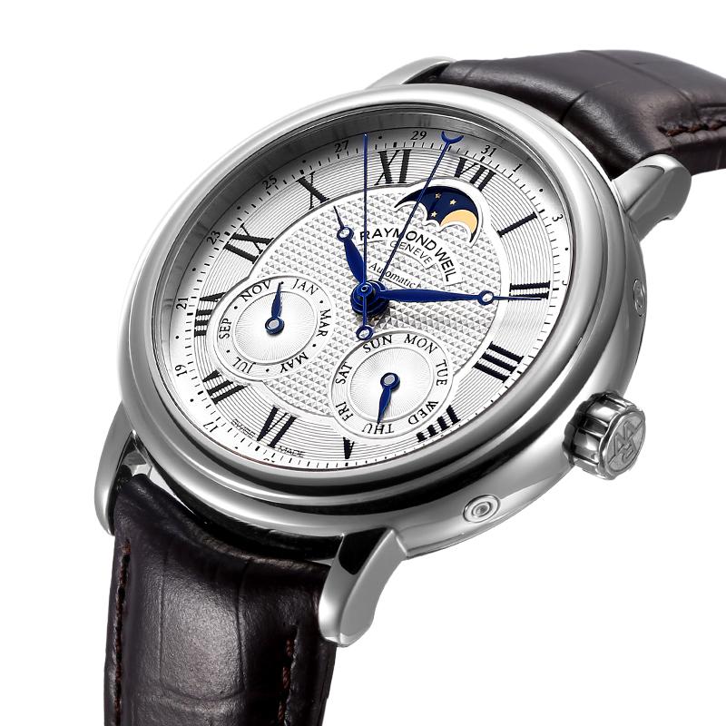 蕾蒙威Raymond Weil大师系列瑞士月相机械男表日月历星期显示手表