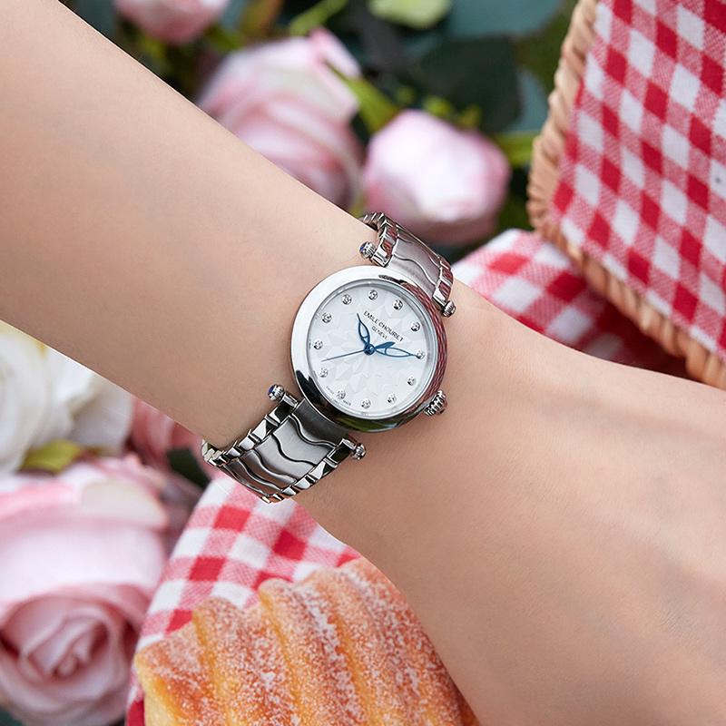 瑞士腕表艾米龙官方正品净雅系列简约气质钢带自动机械表女士手表