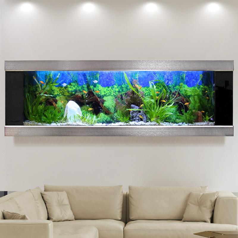 欧宝鱼缸水族箱挂壁挂墙 小型客厅家用造景 生态玻璃金鱼缸免换水