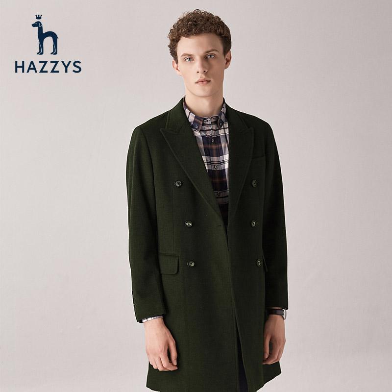 Hazzys哈吉斯冬季新品男士毛呢大衣韩版修身中长款男士外套潮流
