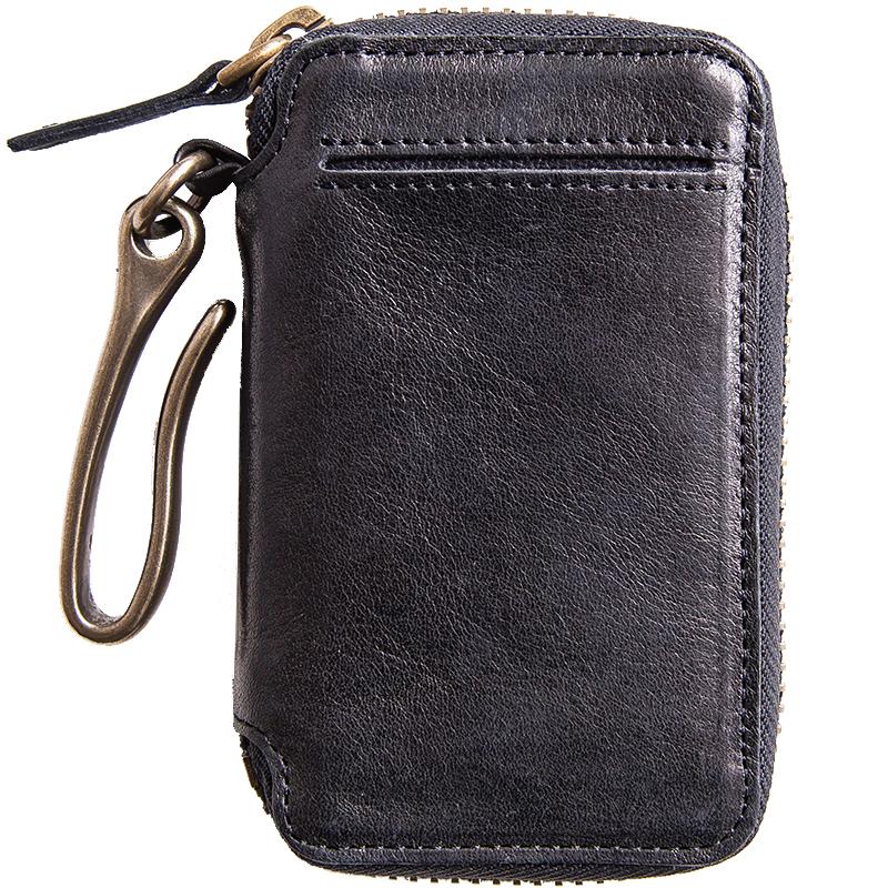 埋不烂 头层牛皮汽车钥匙包男士真皮钥匙扣带卡位 可放驾照Q56