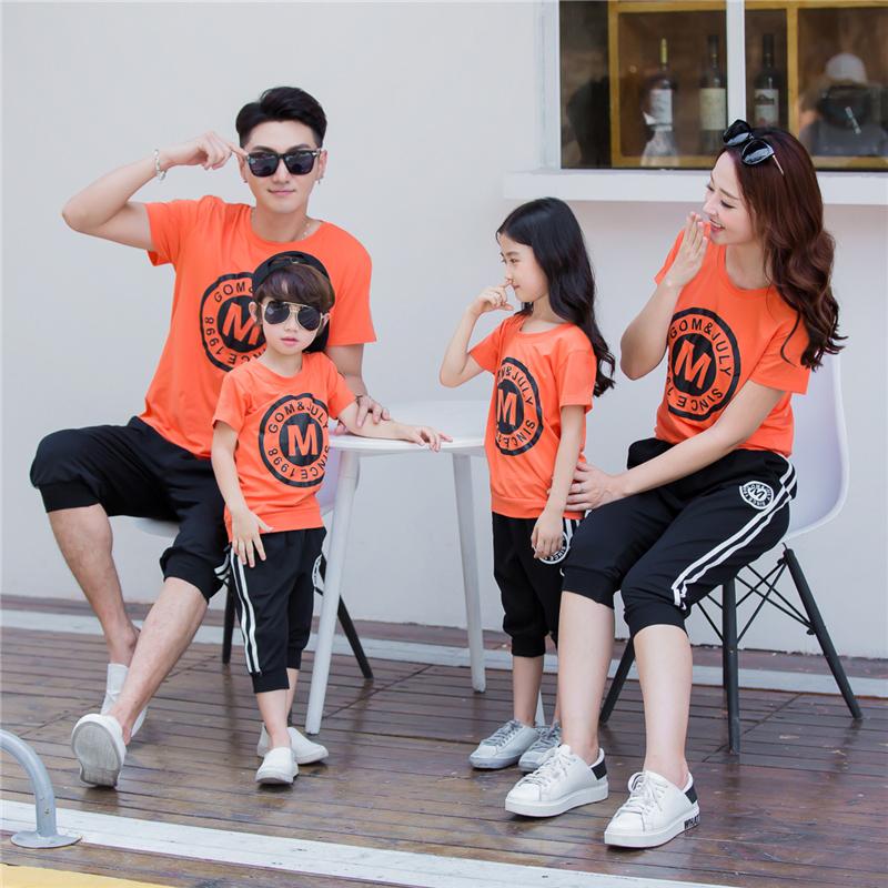 不一样的亲子装夏装2019短袖T恤休闲运动母女全家庭一家三口套装