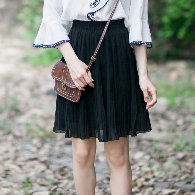 丝烁夏新款百褶短裙半身裙纯色雪纺小短裙子大摆A字裙高腰显瘦