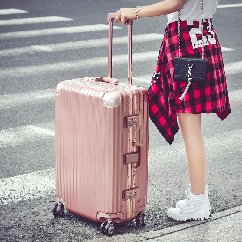 鋁框拉桿箱20登機箱24玫瑰金旅行李包男女學生可愛韓版26/28/29寸