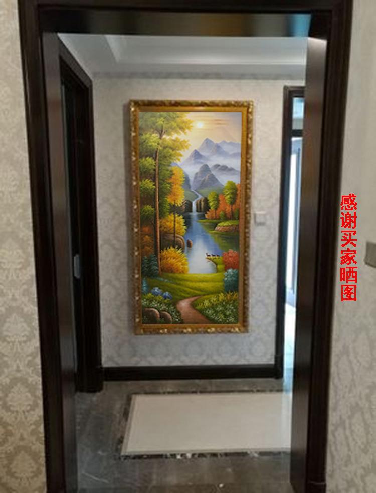 欧式风景手绘油画客厅山水玄关走廊过道装饰画竖版风景挂画聚宝盆