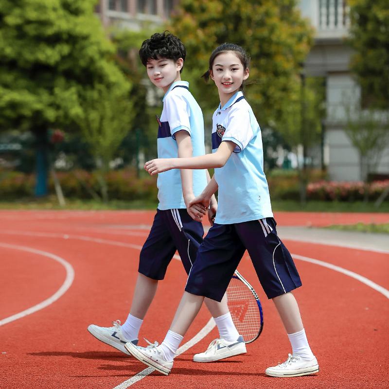 校服套装小学生夏季初高中学生运动服夏装儿童蓝红短袖团体服中裤