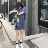 Summer 2020 Korean loose long section hedging short-sleeved t-shirt solid color T-shirt casual shirt female tide students