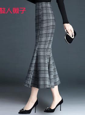 格子鱼尾裙半身裙女2020秋冬包臀裙中长款裙子设计感红色显瘦长裙