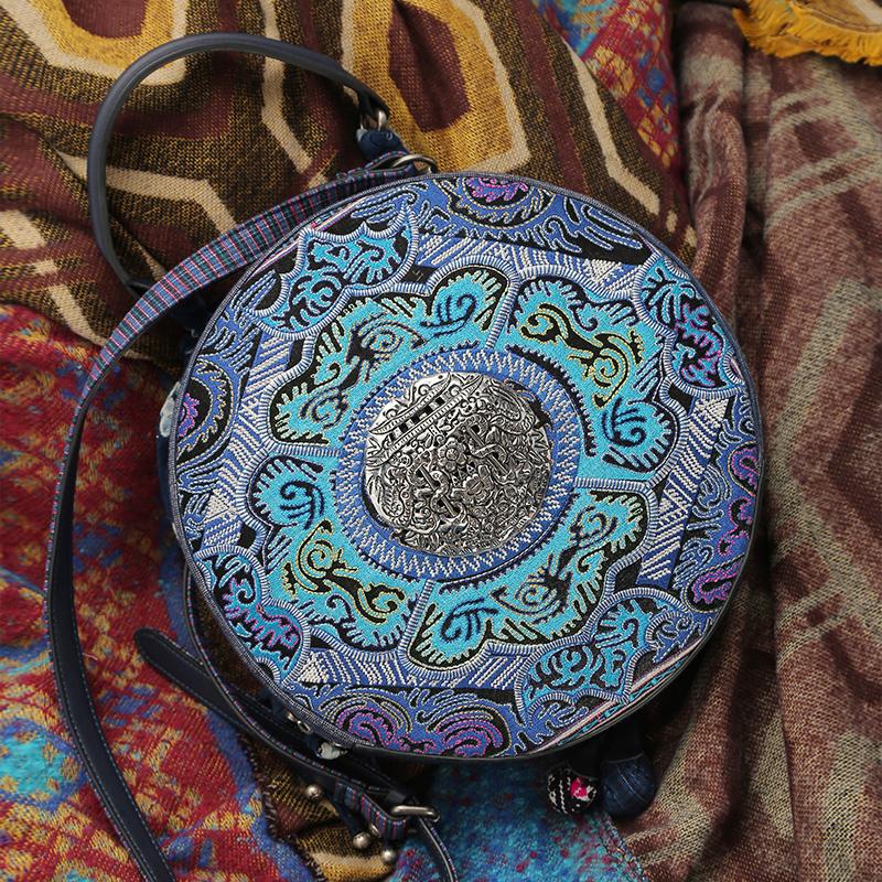 杨丽萍原创设计复古民族风古风棉麻两用圆形个性刺绣单肩手提包女
