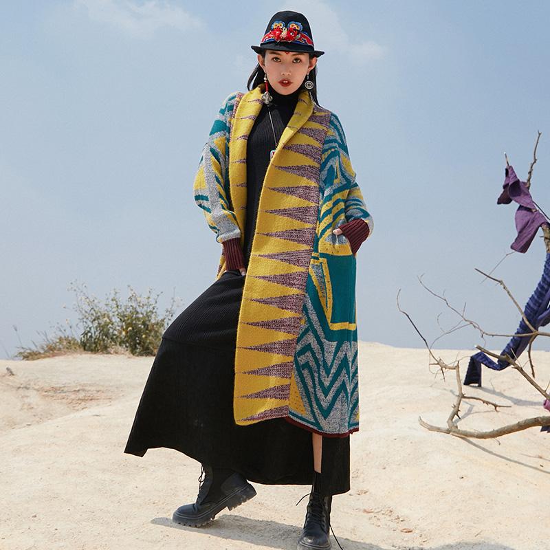 杨丽萍设计原创复古民族风不规则撞色拼接针织毛衣中长款外套冬