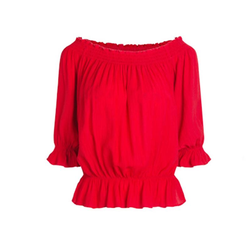 2019夏季新款一字领露肩短款五分袖雪纺衬衫红色小衫女宽松上衣女