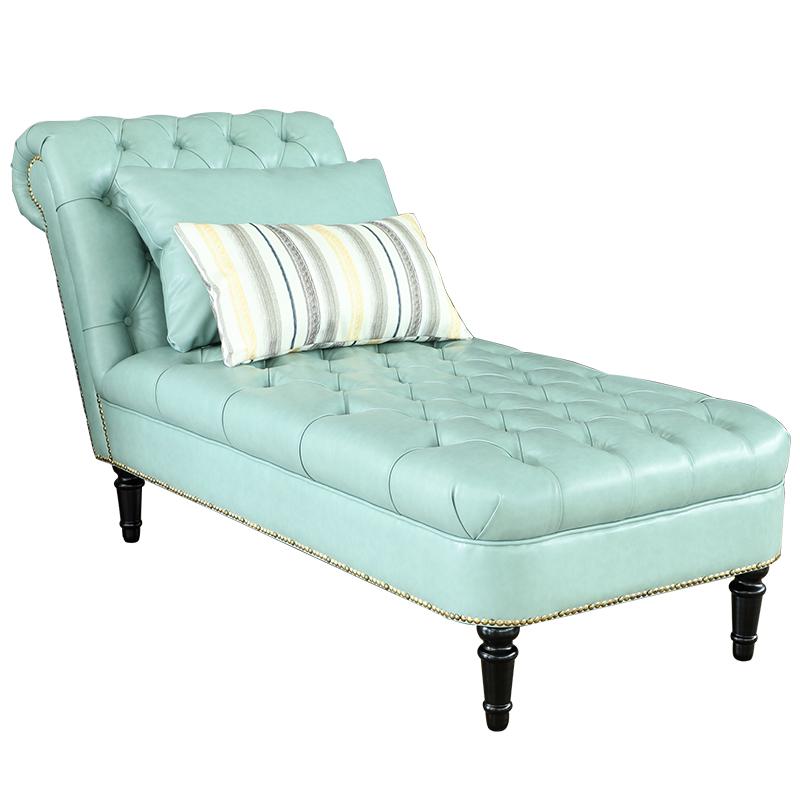 欧式古典贵妃椅美式棉麻布艺拉扣贵妃榻法式客厅卧室懒人沙发躺椅