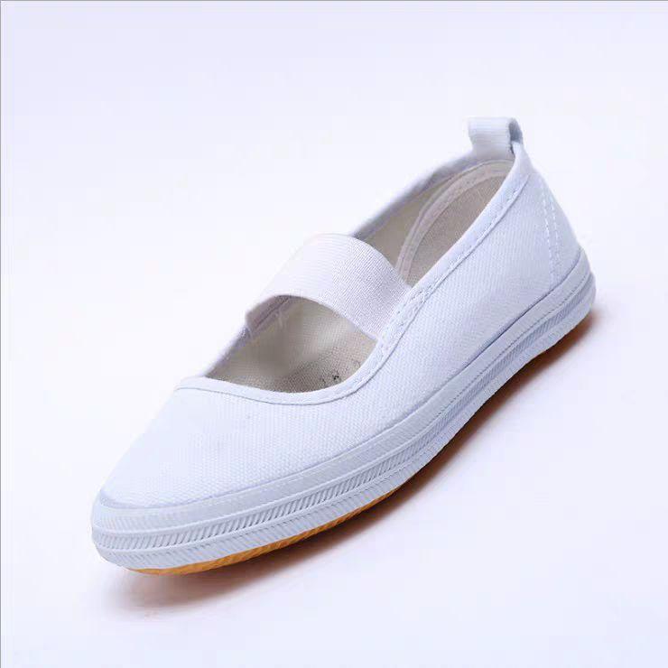 山东鲁泰白色舞蹈锻炼运动跑步鞋耐磨儿童鞋卫生男女鞋