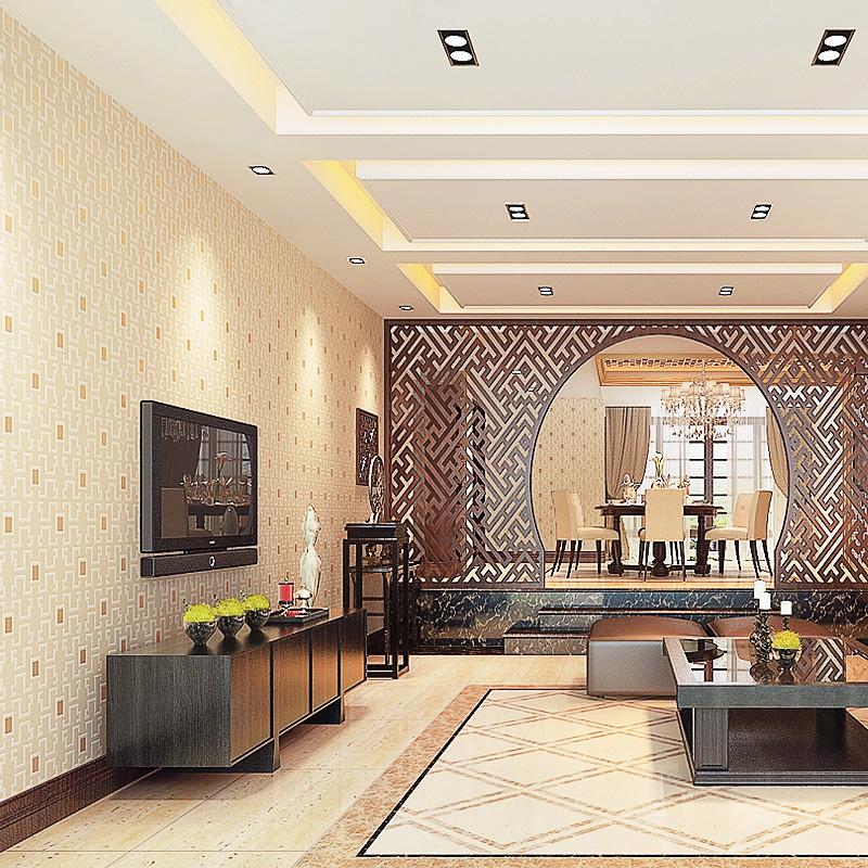 酒店餐馆客厅卧室壁纸 立体无纺布墙纸 4D 新款中国风中式复古格子
