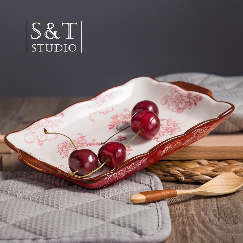 美式水果盤創意西餐盤牛排盤子陶瓷歐式平盤家用意麵盤餐具簡約