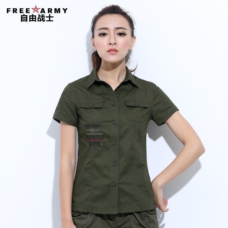 自由戰士春夏季女裝襯衫短袖戶外修身純色女式襯衫中長款襯衣上衣