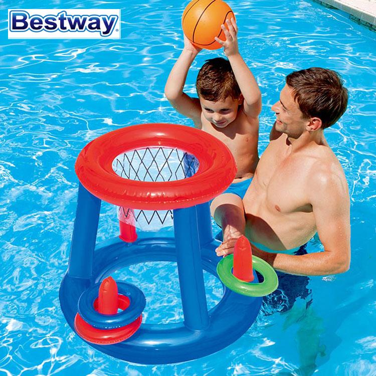 儿童水上玩具水陆两用充气排球架游泳池玩具篮球框足球门网球架