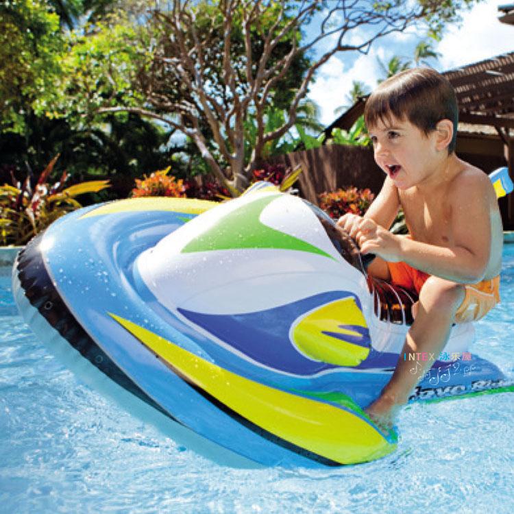 INTEX兒童水上動物摩托坐騎幼兒寶寶坐圈游泳圈充氣戲水玩具包郵