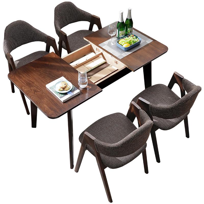 泽凡诺北欧全实木餐桌椅组合简约现代折叠小户型可伸缩餐桌长方形