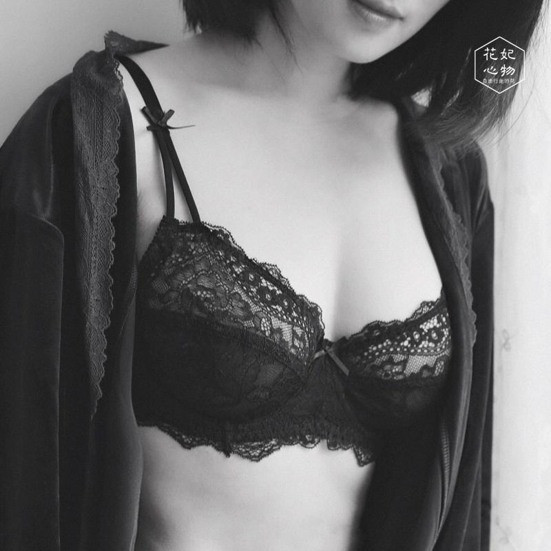 大胸显小全罩杯文胸薄款有钢圈姓感蕾丝超薄内衣套装女 花妃心物