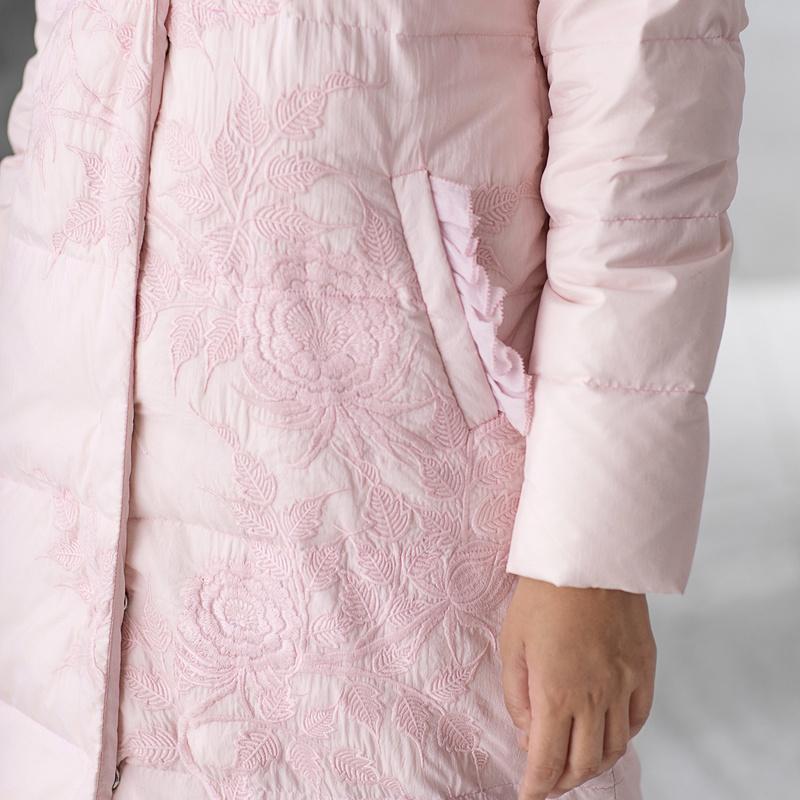 生活在左2017秋季新款拼真丝羽绒服中长款文艺长袖开衫白鸭绒女