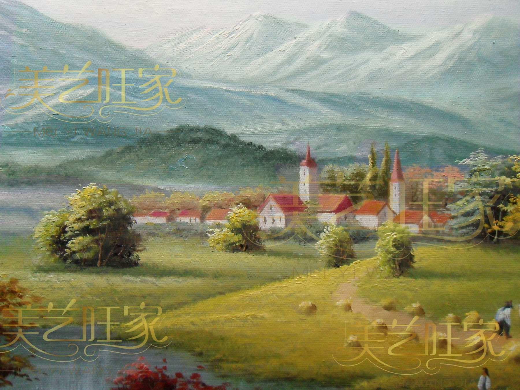 純手繪油畫歐式田園風景橫幅定制飯餐廳臥室走廊過道手工裝飾掛畫