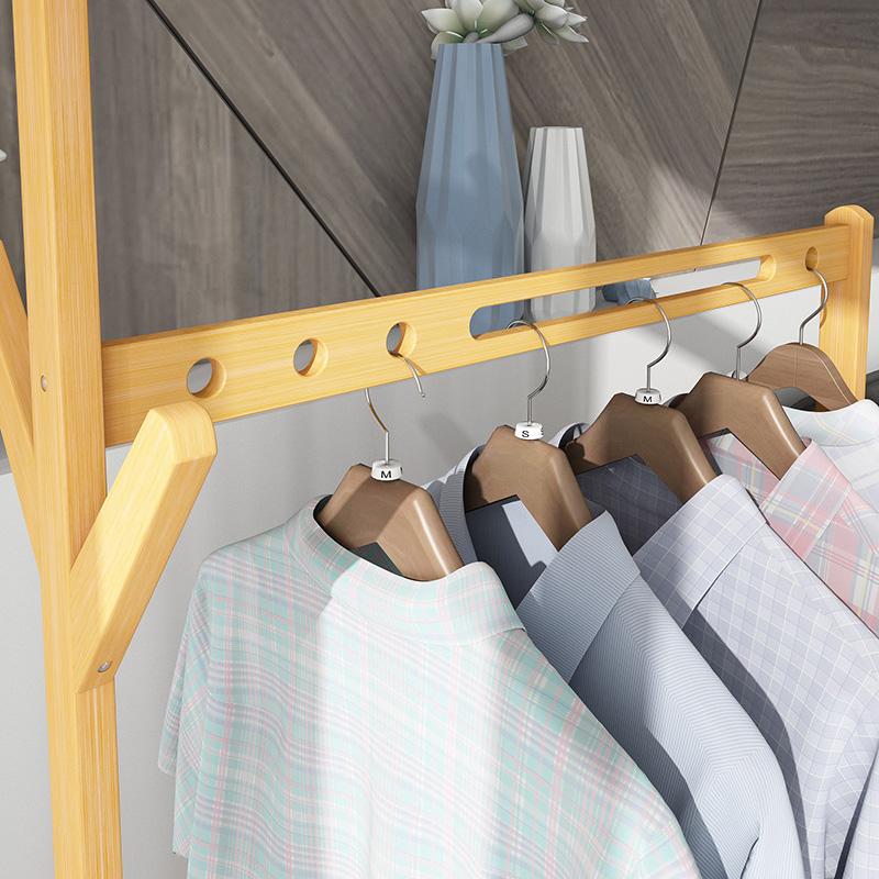 简易衣帽架落地楠竹创意客厅挂衣架卧室移动衣架实木家用衣服架子