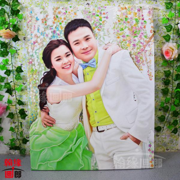 纯手绘油画定制 人物婚纱油画 宠物风景画 传统肖像油画个性订制
