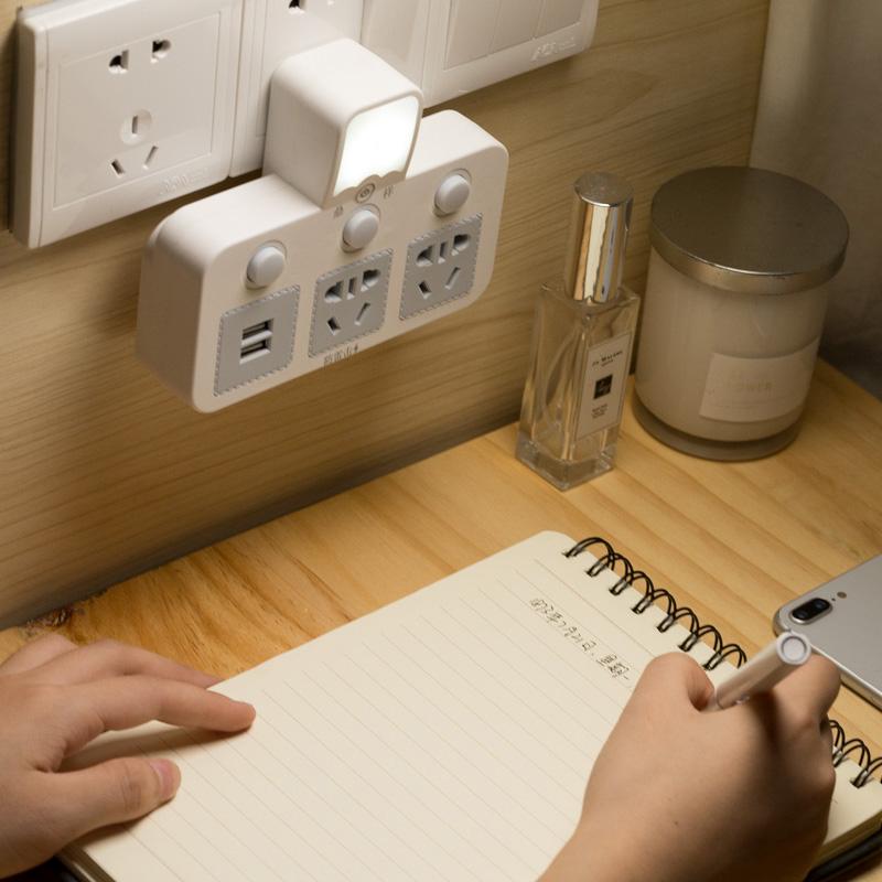 无线扩展插座转换器USB插排一转三四多孔多功能带小夜灯转换插头