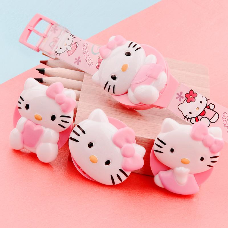 KT 猫女宝宝手表儿童电子表卡通换盖手表幼童小童玩具手表韩版 可爱
