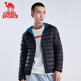 Camel down jacket male lady light short autumn and winter hood repair white duck down warm sports down jacket