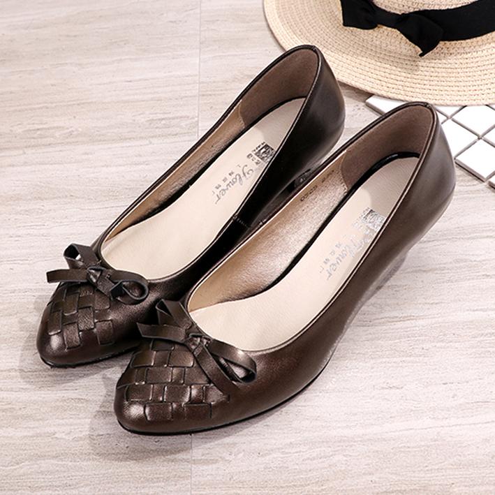 正品上海花牌真皮女鞋羊皮女單鞋中跟淺口尖頭粗跟職業百搭女皮鞋