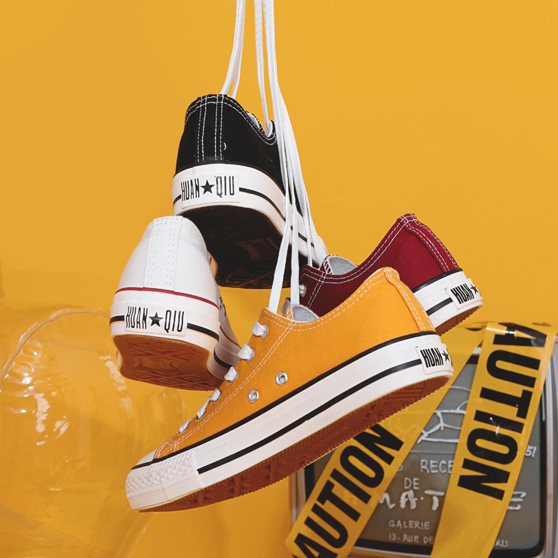 环球帆布鞋女2019新款潮鞋学生韩版布鞋小白球鞋白色低帮秋季板鞋