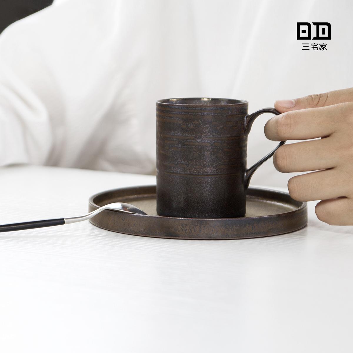 简约金属釉陶艺咖啡杯碟 卡布奇诺杯 摩卡杯 設計師手工小资杯