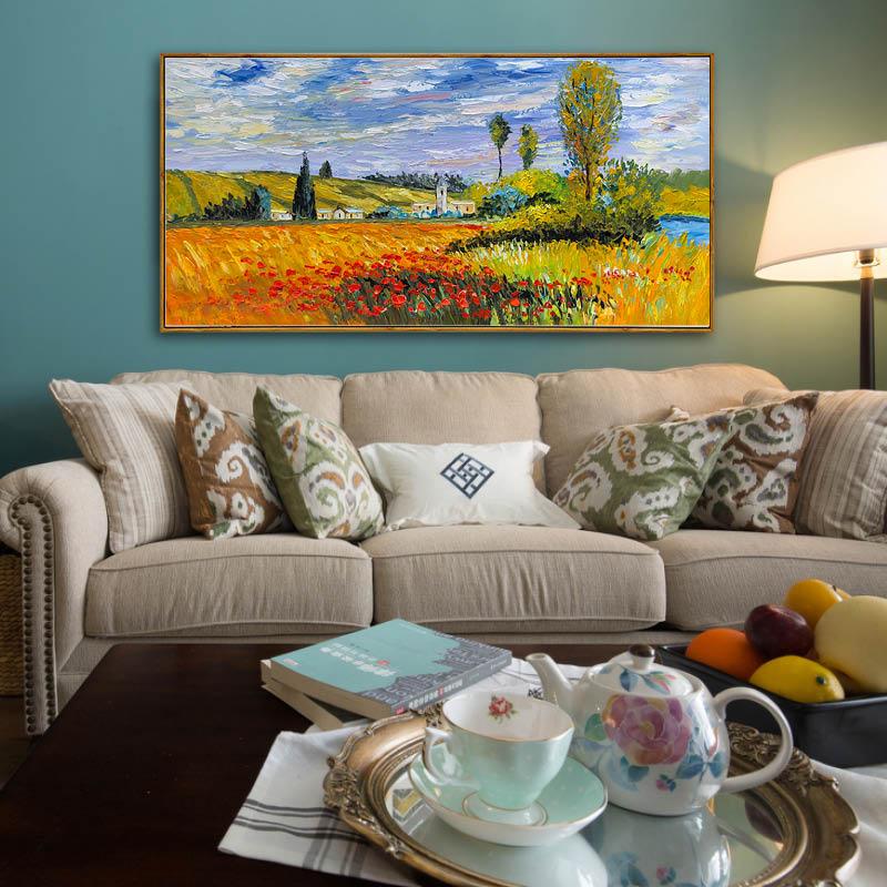 莫奈弗特伊景觀 畫家陸耀晃刀畫版 簡歐美式客廳大幅風景手繪油畫