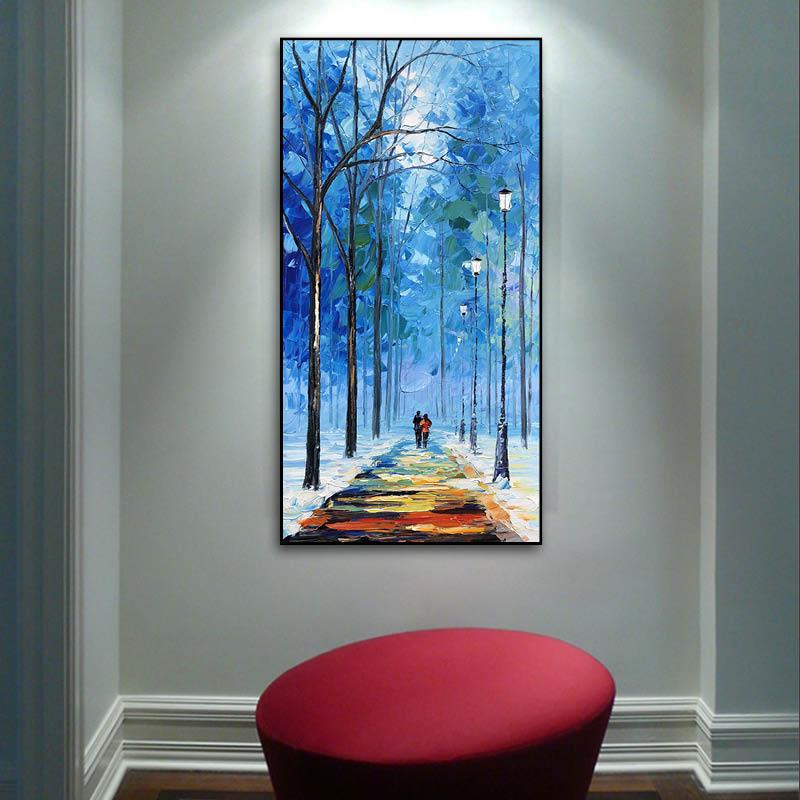 一路同行 张子柱原创手绘油画 北欧风格现代风景竖版玄关走廊过道