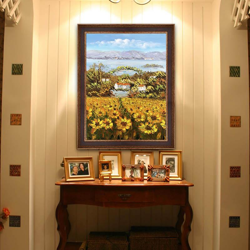 印象斑斕 普羅旺斯的向日葵 美式玄關花卉手繪油畫餐廳臥室裝飾畫